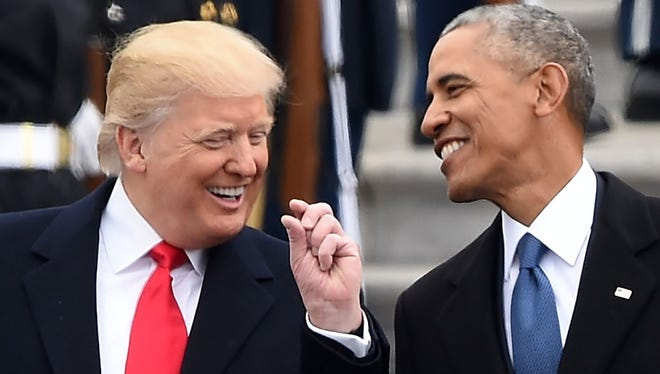 President Trump and President Obama at Trump's inauguration.