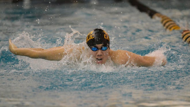 Bergen Catholic's Joe Om swims the 100-yard butterfly event during the Bergen Meet Of Champions on Jan. 29, 2017.
