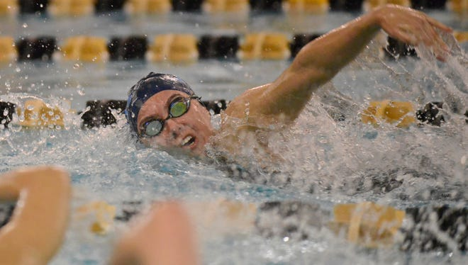 IHA's Isabelle Arevalo swims the 100-yard freestyle event during the 2017 Bergen County Meet of Champions.