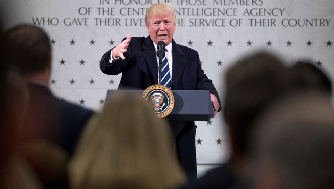 President Donald Trump speaks at the Central Intelligence Agency in Langley, Va., on Jan. 21.