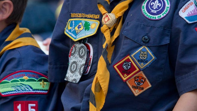 Cub Scouts in New York's Times Square.