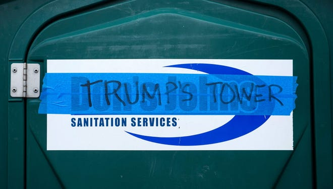 Rental potties with a taped protest in Washington on Jan. 17, 2017.