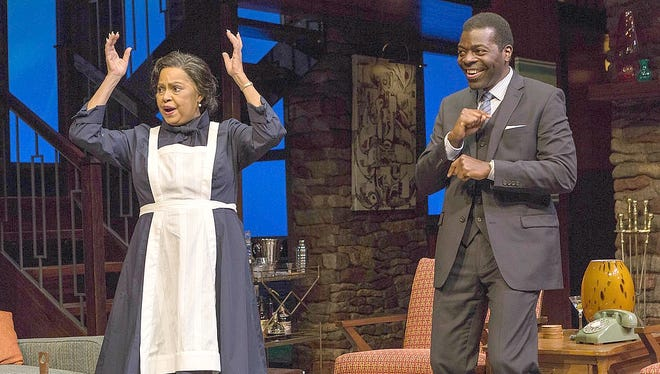 "Lynda Gravatt, playing Tillie the maid, and Chiké Johnson in ""Guess Who's Coming to Dinner?"""
