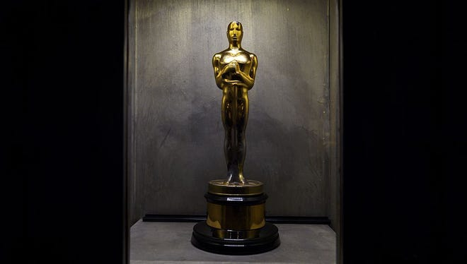 A photo taken on April 6, 2016 shows an Oscar trophy in a showcase at the Chaplin's World museum in Corsier-sur-Vevey, western Switzerland.