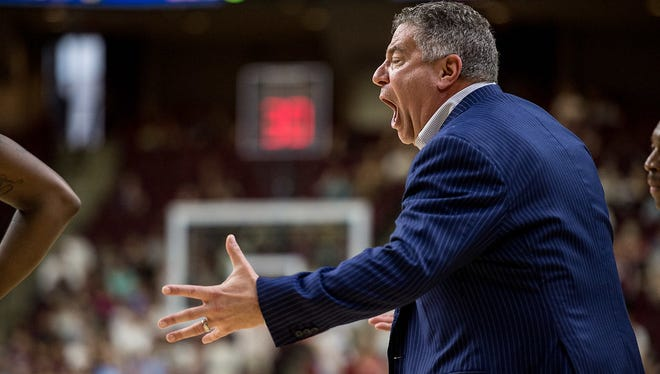 Auburn head coach Bruce Pearl reacts to play during the Tigers 80-61 loss to Texas A&M on Feb 18, 2017.