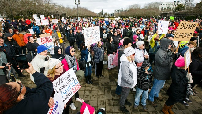 Hundreds gathered at an immigration rights rally in front of the U.S. Capitol on Sunday.