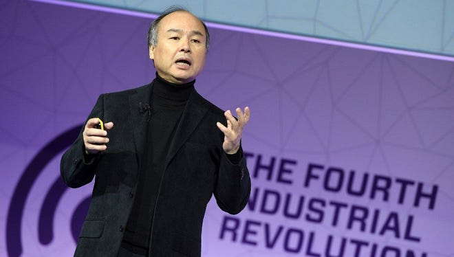 Founder & and CEO of SoftBank Group, Masayoshi Son, speaks during a keynote speech at the Mobile World Congress in Barcelona on February 27, 2017 in Barcelona.
