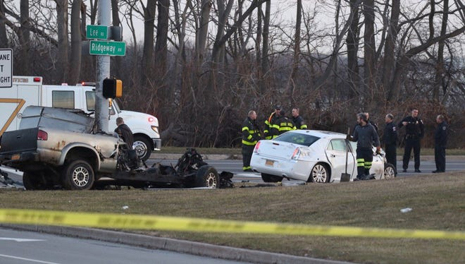 Scene of an early morning crash in Greece Tuesday.