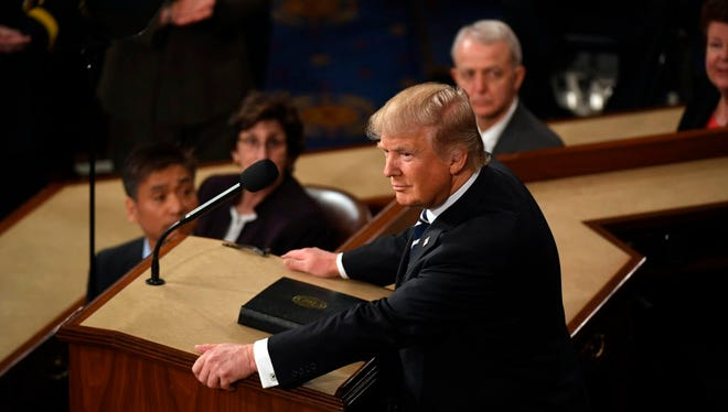 President Trump during his first address to a joint session of Congress at the U.S. Capitol.