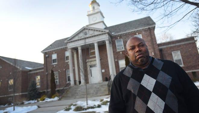 Elie Jones outside the Teaneck municipal building.