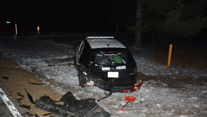 One of two squad cars totaled during a crash Feb. 27.