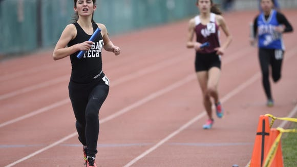 From April 2016 - Sarah Shannon of Passaic Tech finishes first at the Boverini Relays. Shannon was named to the All-County indoor track team for the third time.