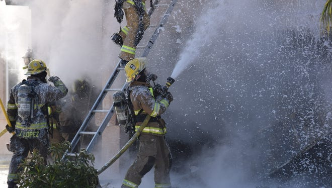 Crews from the Peoria Fire-Medical and Sun City Fire battled a garage fire at a house near 85th Avenue and Cactus at about 9:15 a.m. on March 12, 2017.