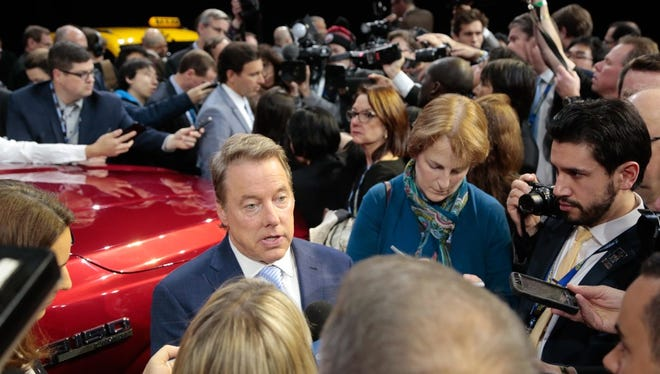 Bill Ford meets with reporters and the recent North American International Auto Show.