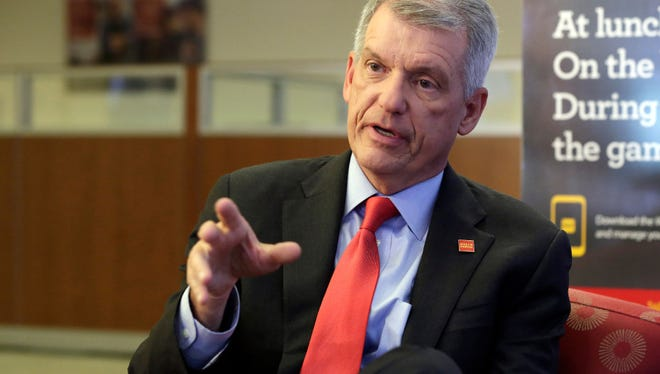 Wells Fargo CEO & President Timothy Sloan is interviewed in one of his bank's branches, in New York, Friday, March 17, 2017. Sloan says that it's too early to gauge President Trump's job performance, but says that he will succeed as long as the White House focuses on jobs and economic growth.