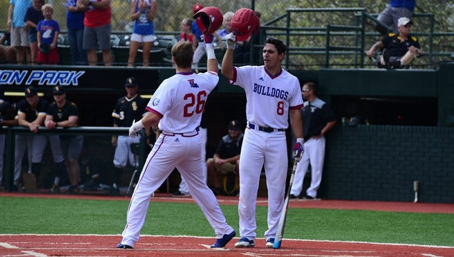 Louisiana Tech hit three home runs, including this one by Raphael Gladu, but the Bulldogs were outdone by Southern Miss on Saturday in a 13-9 loss.