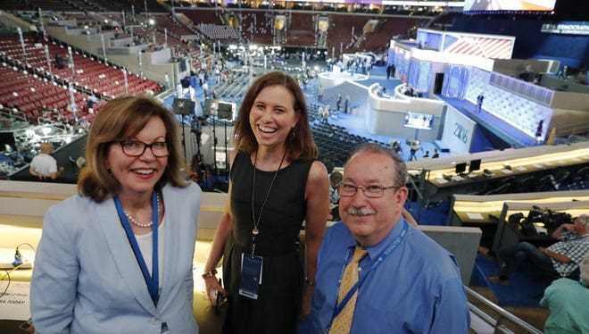 USA TODAY Washington Bureau Chief Susan Page, Gannett Chief Content Officer and USA TODAY Editor in Chief Joanne Lipman, and USA TODAY Politics Editor Lee Horwich during the 2016 Democratic National Convention at Wells Fargo Arena in Philadelphia.
