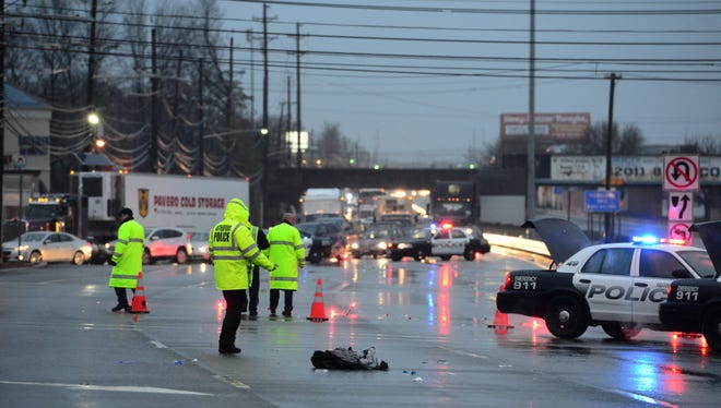 Police investigate the accident where a Rutherford bus driver was struck on Route 17 southbound at Highland Cross. He later died from his injuries. The family has filed a suit against the town and the state.