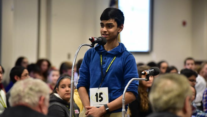 Jeevan Dsouza of David E. Owens Middle School in New Milford, competes at the 2016 North Jersey Spelling Bee at Bergen Community College in Paramus.