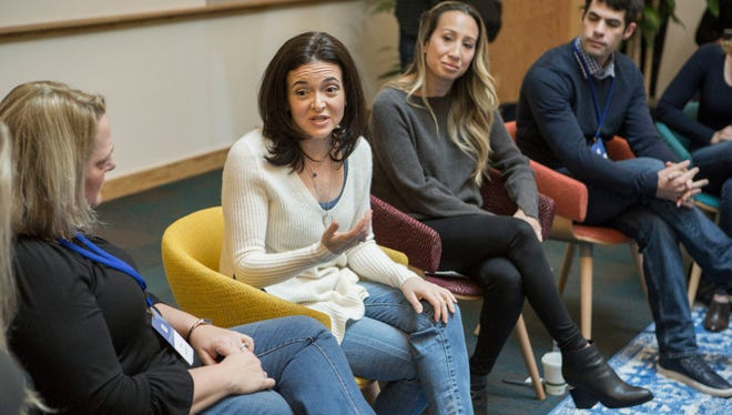 Facebook COO Sheryl Sandberg speaks to guests gathered for a 'birthday' celebration at Facebook headquarters in Menlo Park, Calif., on Jan. 31, 2017.