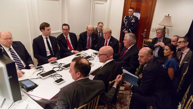President Trump is briefed on Syria missile strike via secure video teleconference at his Mar-a-Lago resort, April 7, 2017