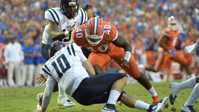Florida linebacker Jarrad Davis, seen here sacking Ole Miss quarterback Chad Kelly, is a sideline-to-sideline guy who can make plays all over the field.