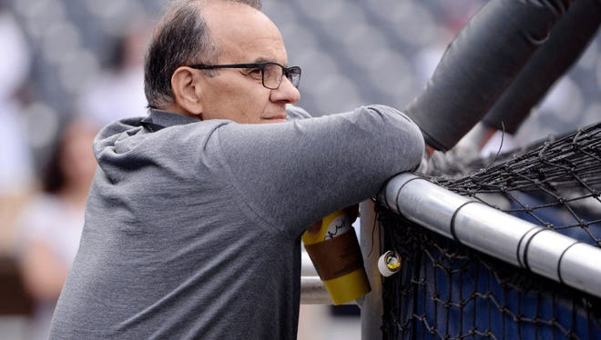 Joe Torre watching batting practice in San Diego at the World Baseball Classic on March 24, 2017.