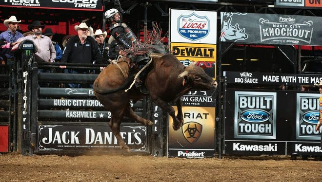 PBR world champion Cooper Davis bucks and flies in last year's Music City Knockout.