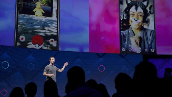 Facebook CEO Mark Zuckerberg delivers the keynote address at Facebook's F8 Developer Conference on April 18, 2017
