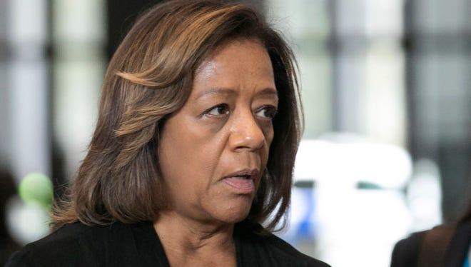 In this Oct. 13, 2015, file photo, former Chicago Public Schools CEO Barbara Byrd- Bennett speaks before leaving federal court in Chicago, after she pleaded guilty to helping steer $23 million in no-bid contracts to education firms for $2.3 million in kickbacks and bribes while working for CPS. A federal judge in Chicago is scheduled to sentence Byrd-Bennett Friday, April 28, 2017.
