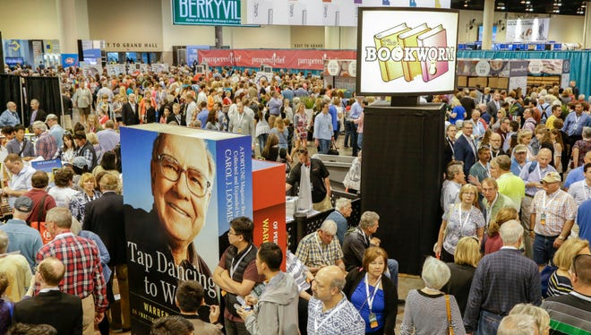 Berkshire Hathaway shareholders in Omaha, Neb., on May 5, 2017. More than 30,000 people are expected to attend the annual meeting this weekend.