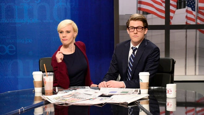 "Kate McKinnon as Mika Brzezinski, Alex Moffat as Joe Scarborough in ""Saturday Night Live's"" ""Morning Joe Cold Open"" on May 6, 2017."