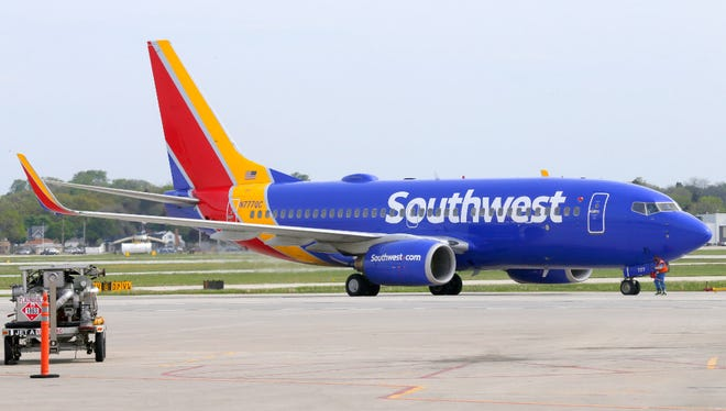 A Southwest Airlines flight prepares for takeoff from Milwaukee's Mitchell International Airport in May.