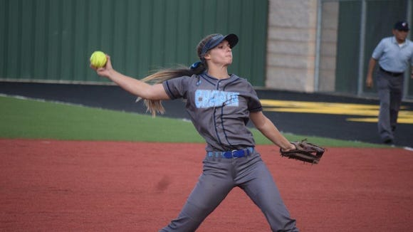 Chapin's Kristin Fifield delivers a pitch vs. Canyon earlier this year in Seminole in the Region 1-5A softball championship series.
