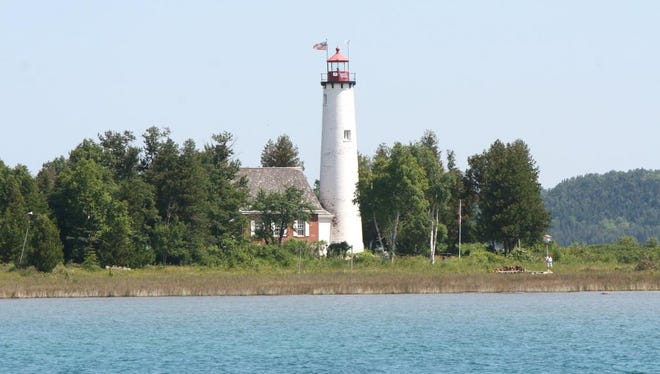 The lighthouse, St. Helena located 6 miles west of the Mackinac Bridge in northern Lake Michigan. The picture was taken in July, 2011 by