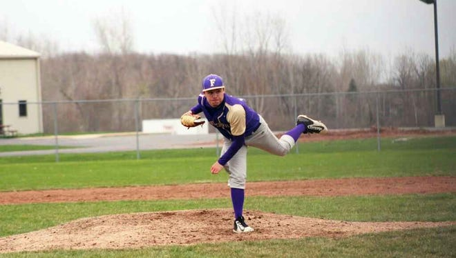 Fowlerville's Eric Fritz pitched the Gladiators past Eaton Rapids in the district semifinals on Saturday. The team went on to win districts with a 16-5 win over Jackson Northwest.