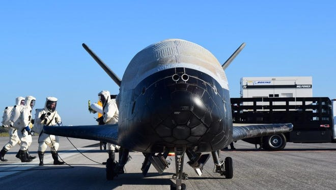 The U.S. Air Force's X-37B Orbital Test Vehicle 4 is seen after landing at NASA's Kennedy Space Center Shuttle Landing Facility on May 7, 2017.