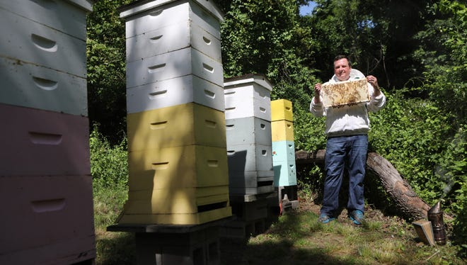 Frank Mortimer with some of his estimated 360,000 bees in Upper Saddle River.