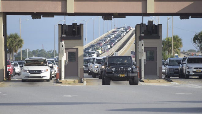 Traffic backs up over the Bob Sikes Bridge on Saturday, July 8, 2017, at Pensacola Beach before the Blue Angels Air Show.