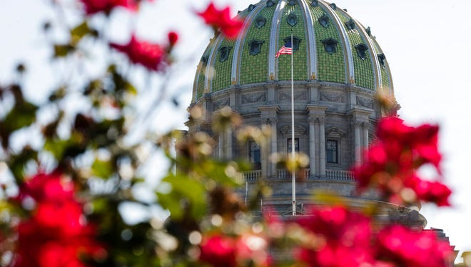 The Pennsylvania Capitol building is seen in Harrisburg, Pa., Monday, July 10, 2017. Monday marks the 10th day of a budget stalemate between Democratic Gov. Tom Wolf and leaders of the House and Senate Republican majorities. (AP Photo/Matt Rourke)