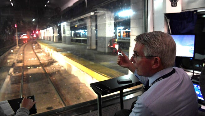"Amtrak co-CEO Charles ""Wick"" Moorman rides in the rear car of Northeast Corridor Train #172 into New York Penn Station on April 19."