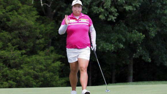 Shanshan Feng of China has the lead after three rounds of the U.S. Women's Open at Trump National Bedminster Golf Club.