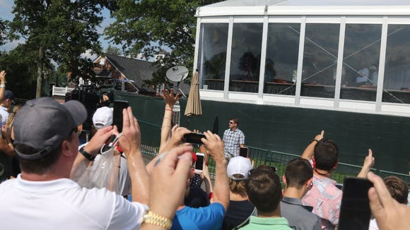 President Trump often waved to his fans from a skybox at the U.S. Women's Open at Trump's Bedminster course last week.