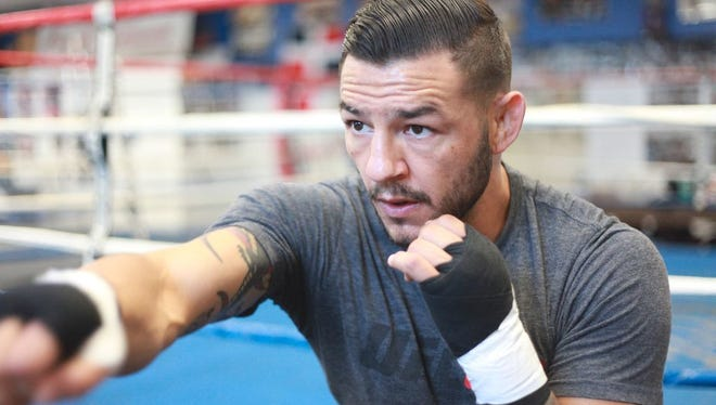 """Omar Ornelas/The Desert Sun  Kevin ?Cub?? Swanson is shown during a training session at Indio Boys and Girls Club on June 29, 2016. Kevin """"Cub"""" Swanson during a training session at Indio Boys and Girls Club on June 29, 2016. He will fight Tatsuya Kawajiri in August."""