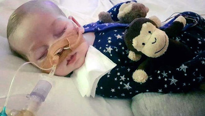 An undated photo of sick baby Charlie Gard provided by his family, taken at Great Ormond Street Hospital in London.