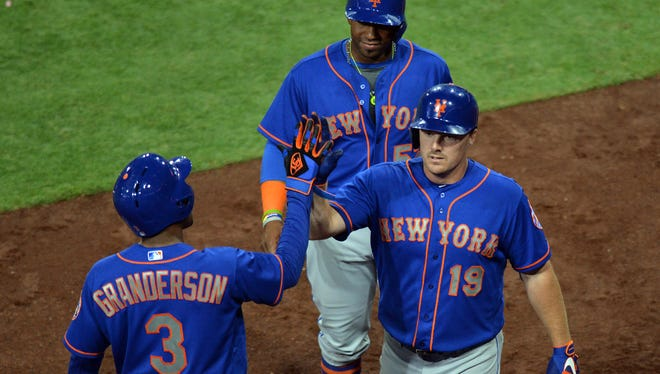Jay Bruce, Curtis Granderson and Yoenis Cespedes.