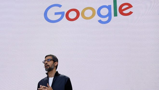 FILE - In this file photo dated May 17, 2017, file photo, Google CEO Sundar Pichai delivers the keynote address for the Google I/O conference in Mountain View, Calif. Pichai has canceled an internal town hall meant to address gender discrimination on Thursday, Aug. 10, after employee questions for management began to leak online from the company's internal messaging service.