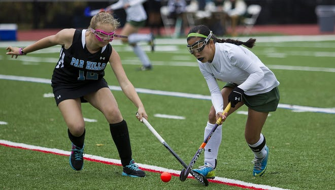 Senior Alicia Mitchell (left) is a strong defender for Parsippany Hills.