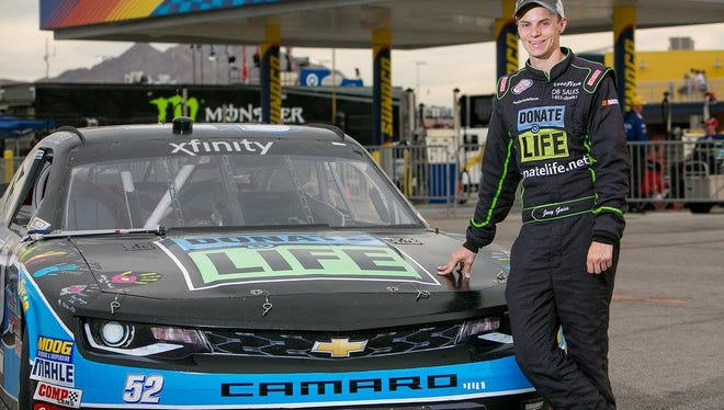 NASCAR Xfinity Series driver Joey Gase is helping raise awareness of organ and tissue donation on race tracks around the nation. He is racing at Road America in Elkhart Lake this weekend.