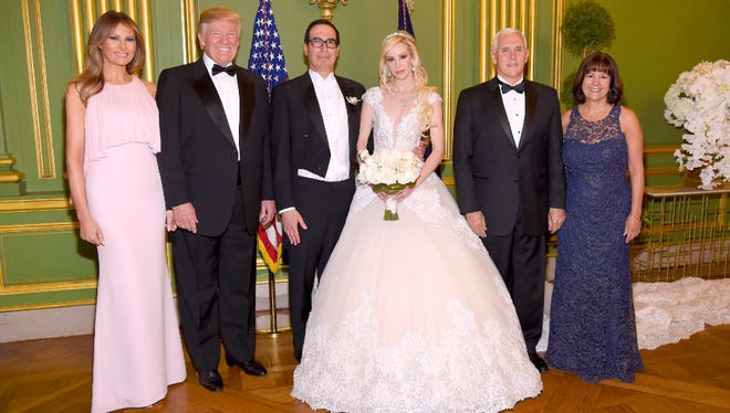 Treasury Secretary Steven Mnuchin and Louise Linton at their wedding, with the Trumps and Pences, Washington, D.C., June 24, 2017
